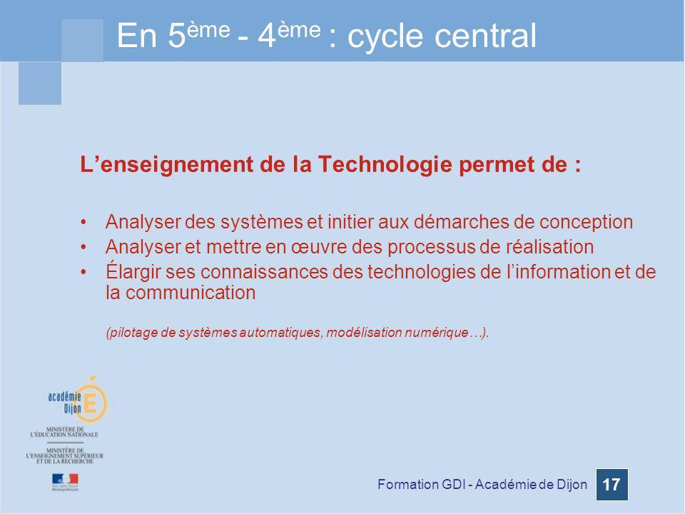 En 5ème - 4ème : cycle central