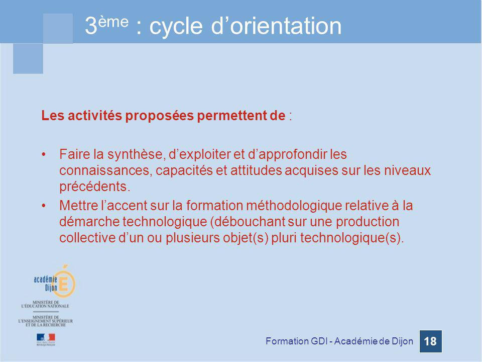 3ème : cycle d'orientation
