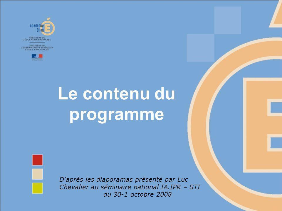 Le contenu du programme