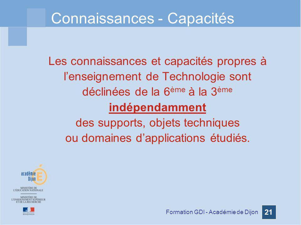 Connaissances - Capacités