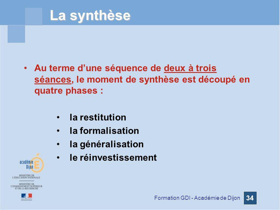 La synthèse Au terme d'une séquence de deux à trois séances, le moment de synthèse est découpé en quatre phases :