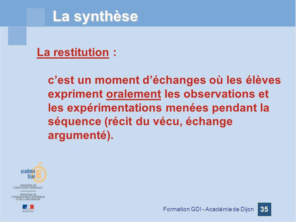 La synthèse La restitution :