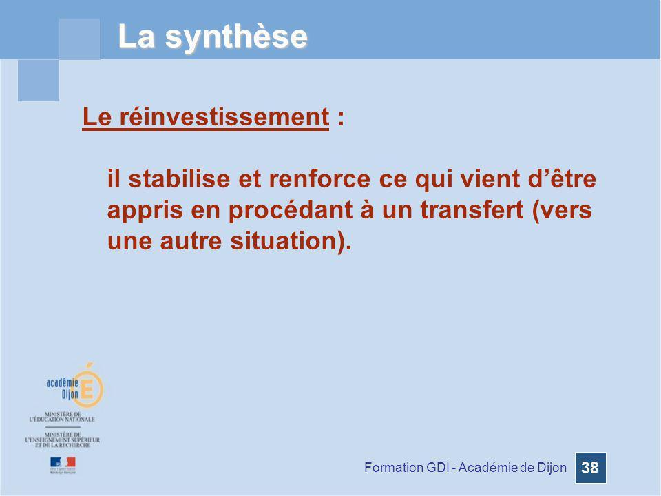 La synthèse Le réinvestissement :