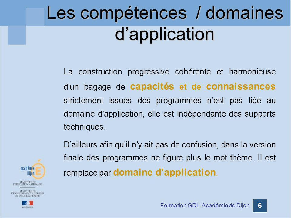 Les compétences / domaines d'application