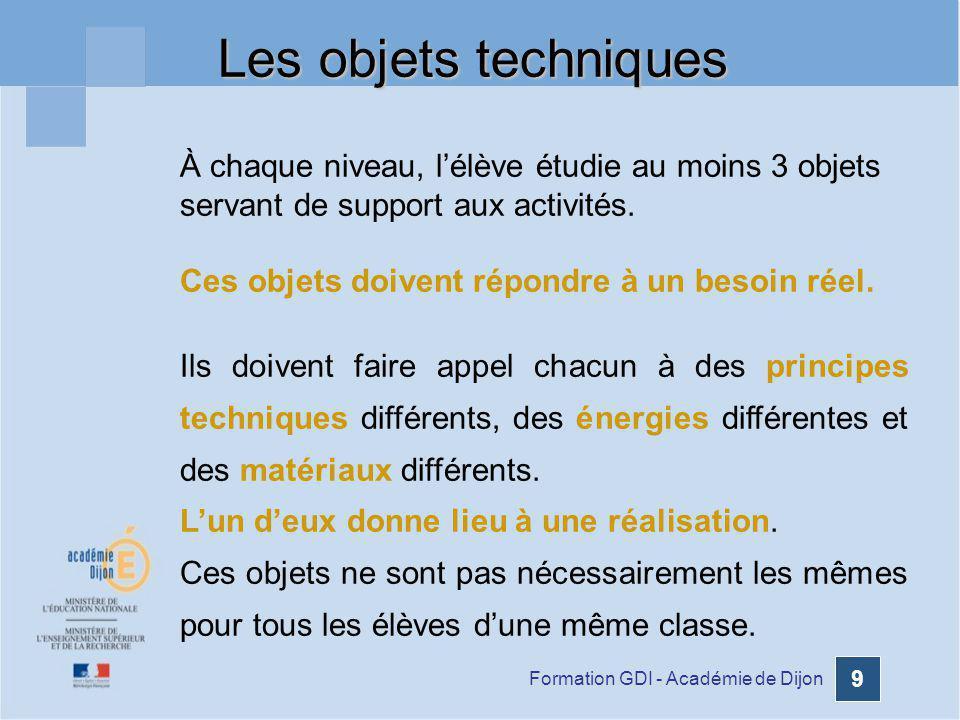Les objets techniques À chaque niveau, l'élève étudie au moins 3 objets servant de support aux activités.