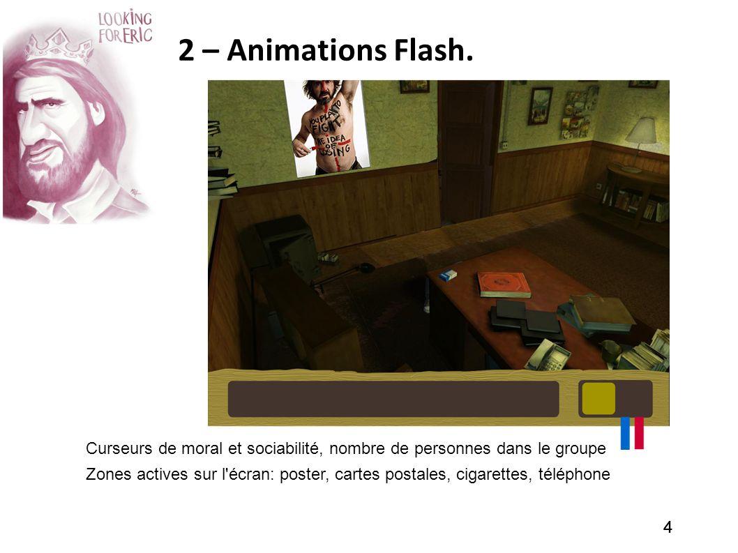 2 – Animations Flash. Curseurs de moral et sociabilité, nombre de personnes dans le groupe.