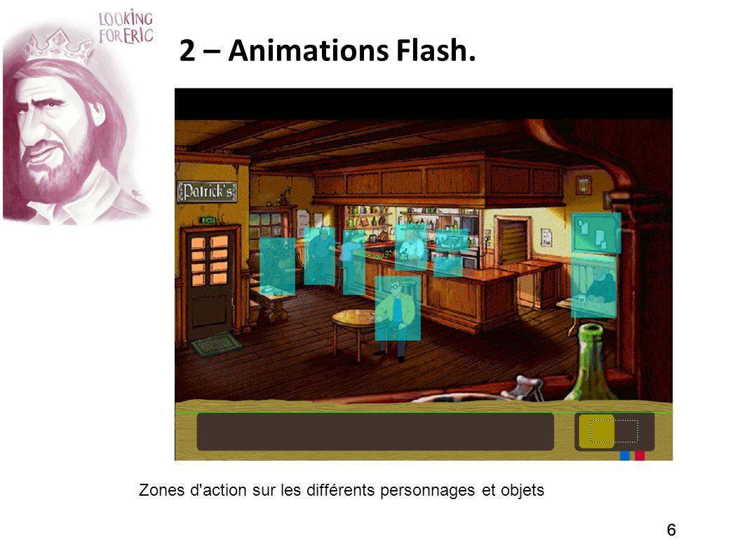 2 – Animations Flash. Zones d action sur les différents personnages et objets 6 6 6
