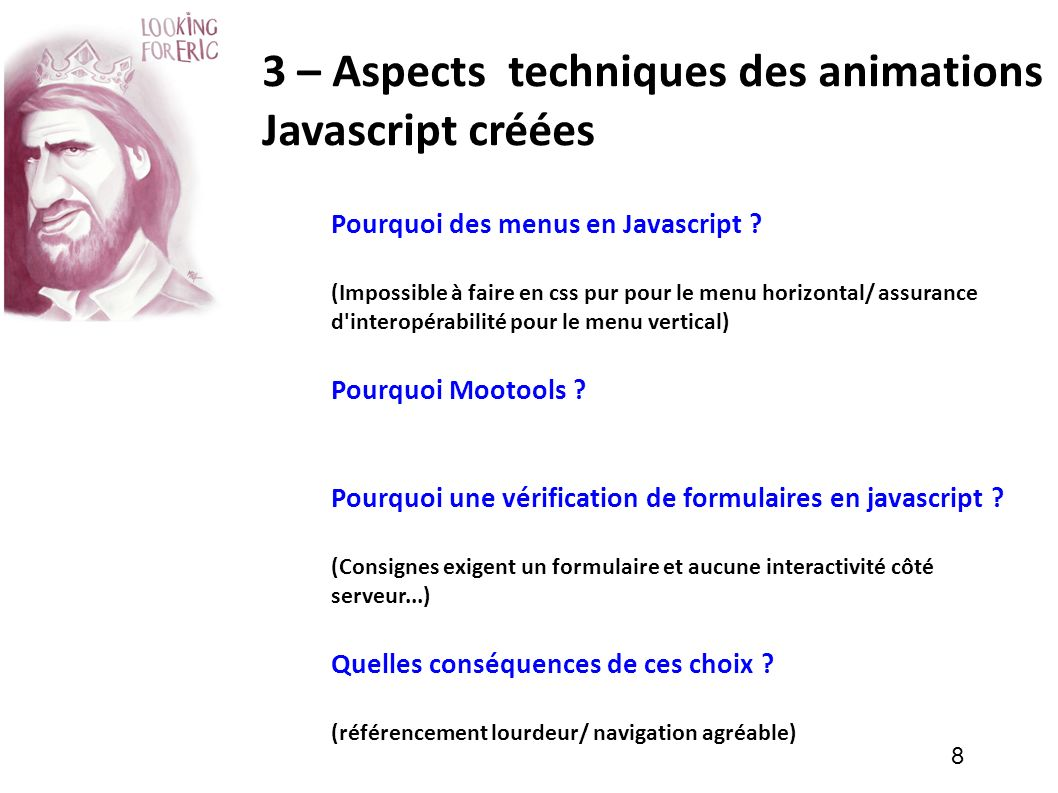 3 – Aspects techniques des animations Javascript créées