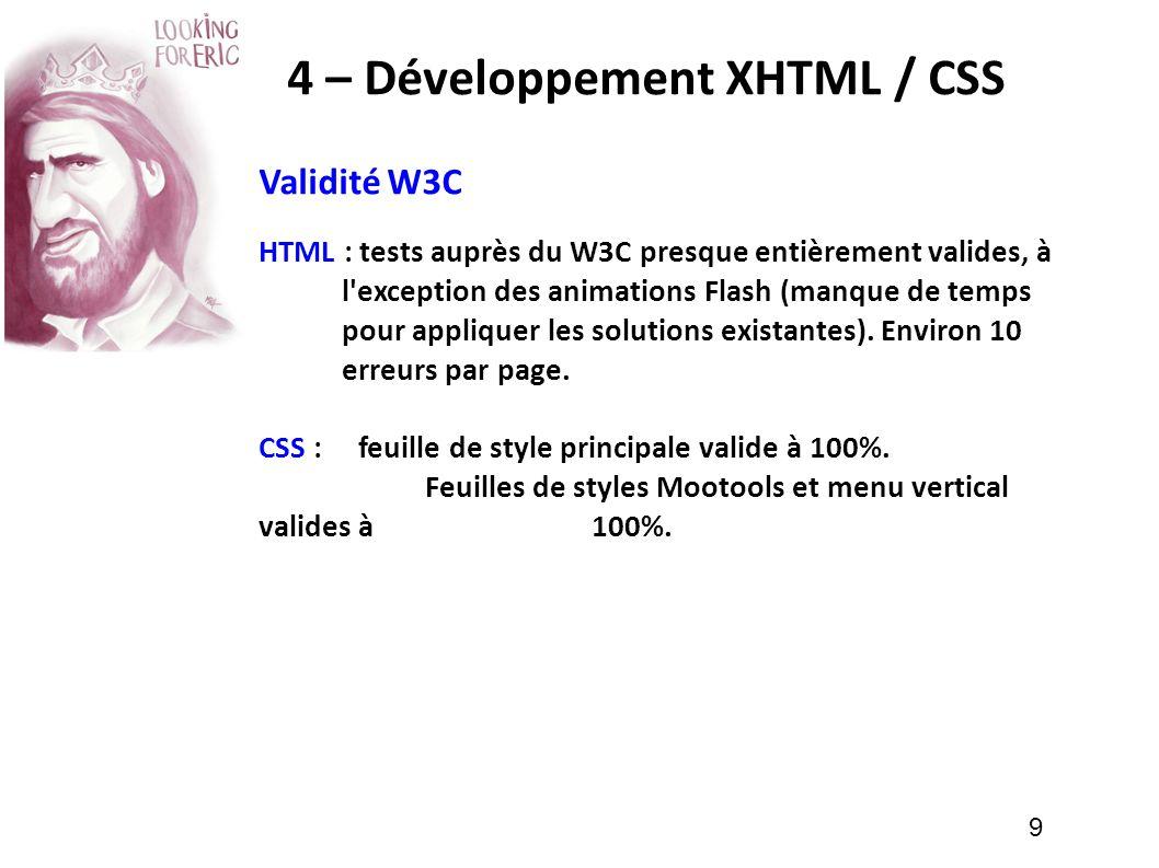 4 – Développement XHTML / CSS