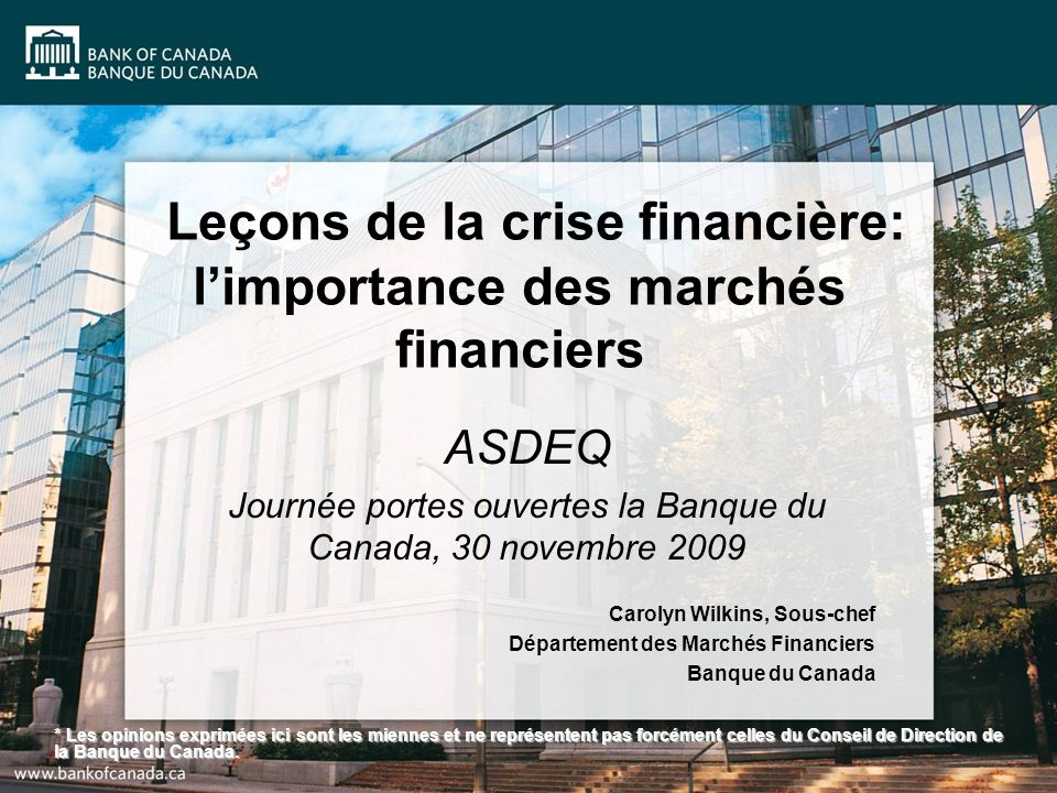 Leçons de la crise financière: l'importance des marchés financiers