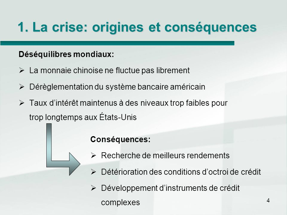 1. La crise: origines et conséquences