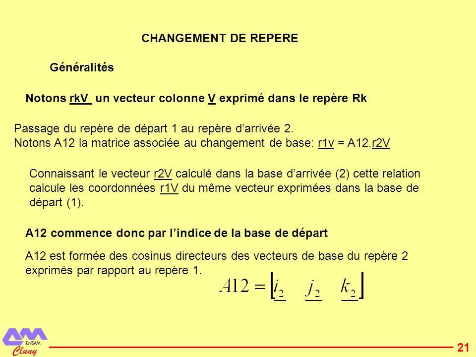CHANGEMENT DE REPERE Généralités. Notons rkV un vecteur colonne V exprimé dans le repère Rk. Passage du repère de départ 1 au repère d'arrivée 2.