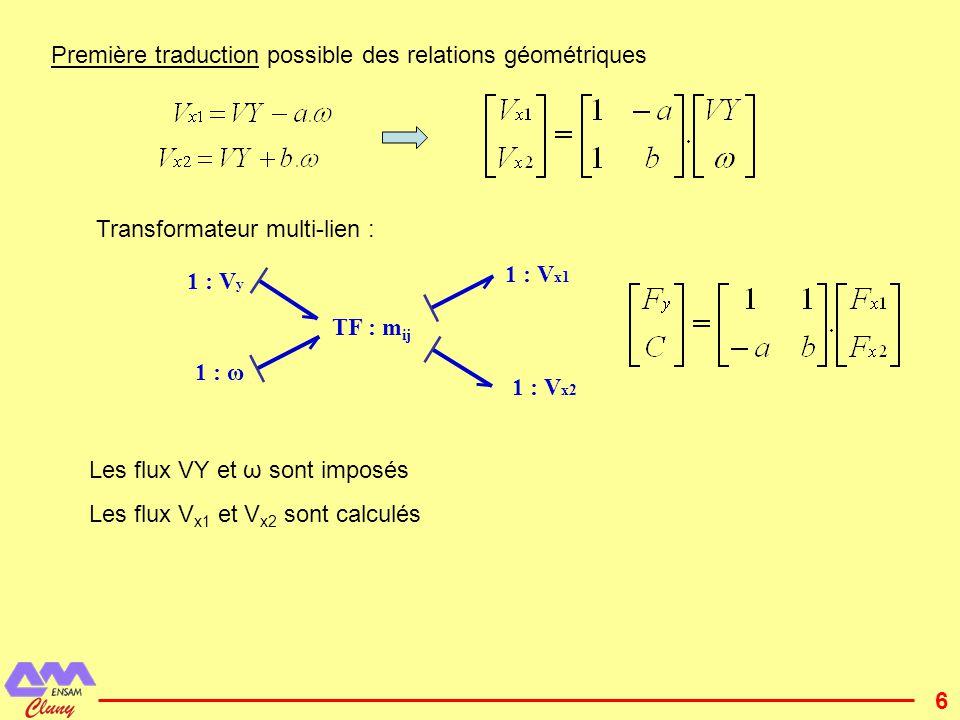 Première traduction possible des relations géométriques