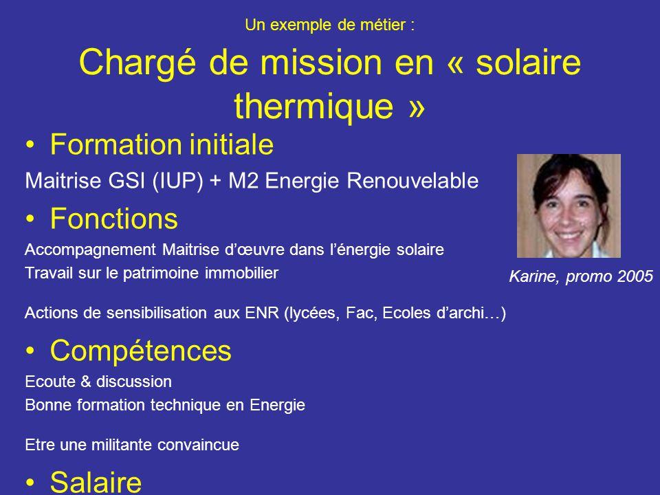 Un exemple de métier : Chargé de mission en « solaire thermique »