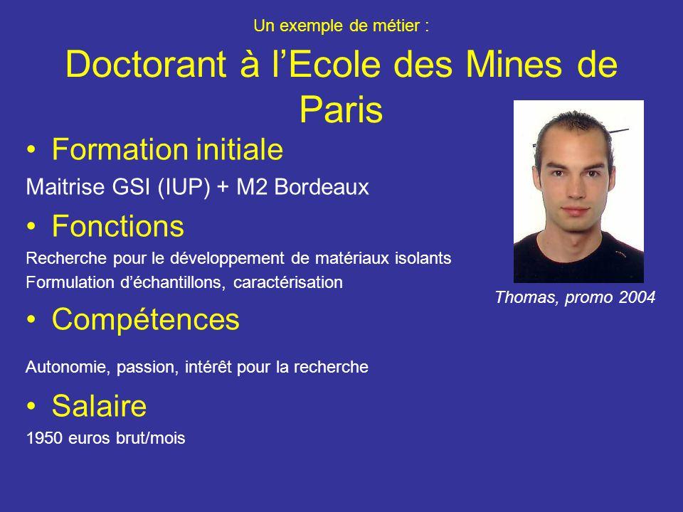 Un exemple de métier : Doctorant à l'Ecole des Mines de Paris