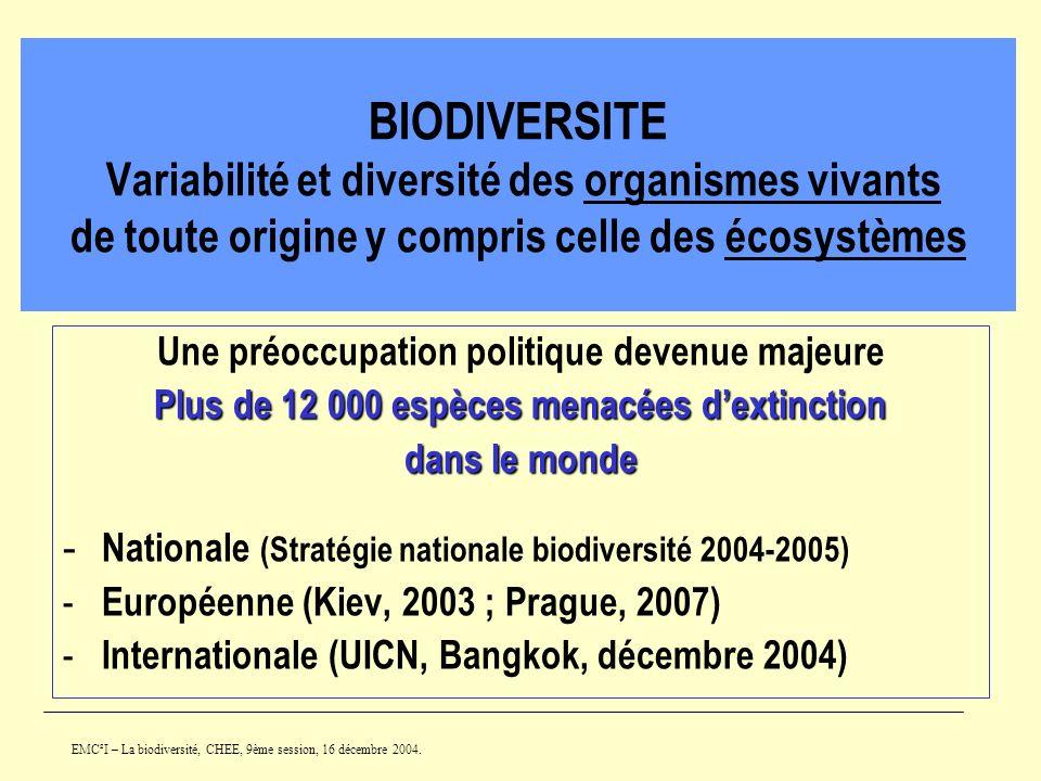 BIODIVERSITE Variabilité et diversité des organismes vivants de toute origine y compris celle des écosystèmes