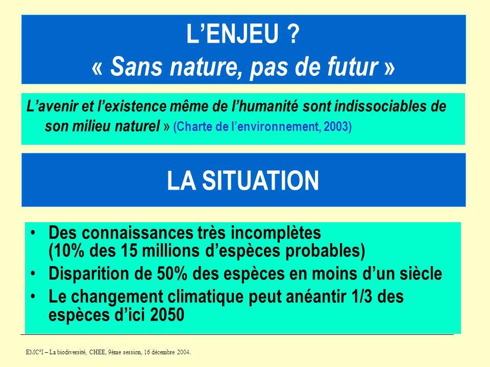 L'ENJEU « Sans nature, pas de futur »