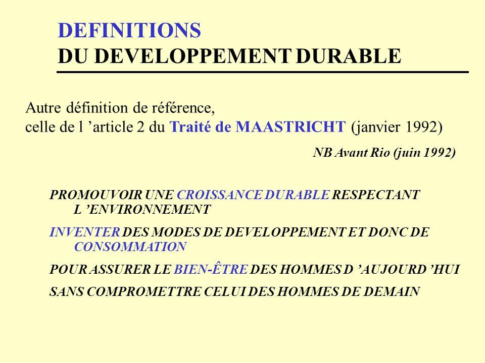 DEFINITIONS DU DEVELOPPEMENT DURABLE
