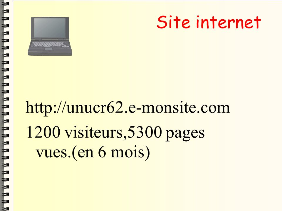 Site internet http://unucr62.e-monsite.com 1200 visiteurs,5300 pages vues.(en 6 mois)