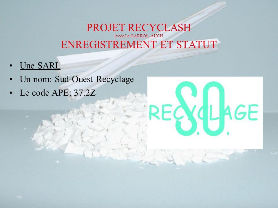 PROJET RECYCLASH lycée Le GARROS -AUCH ENREGISTREMENT ET STATUT