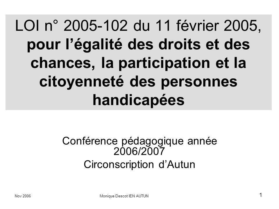 Conférence pédagogique année 2006/2007 Circonscription d'Autun