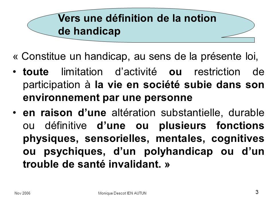 Vers une définition de la notion de handicap