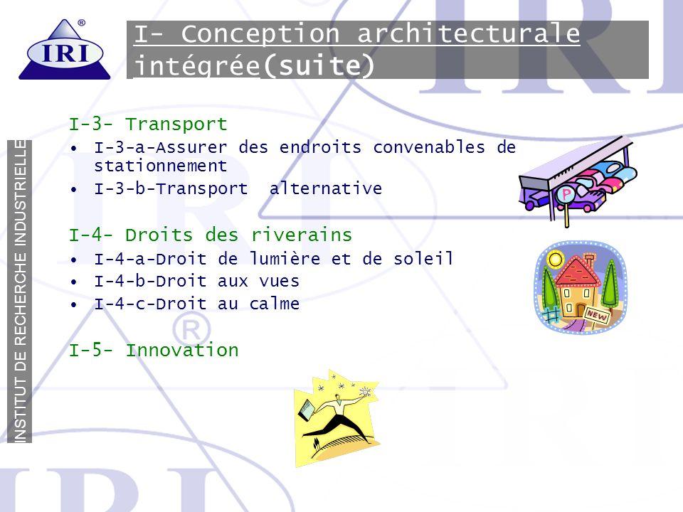 I- Conception architecturale intégrée(suite)
