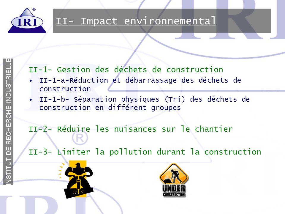 II- Impact environnemental