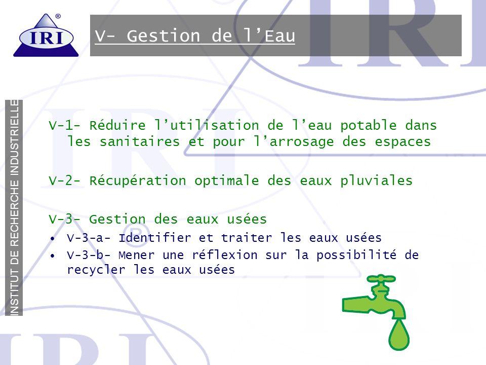 V- Gestion de l'Eau V-1- Réduire l'utilisation de l'eau potable dans les sanitaires et pour l'arrosage des espaces.
