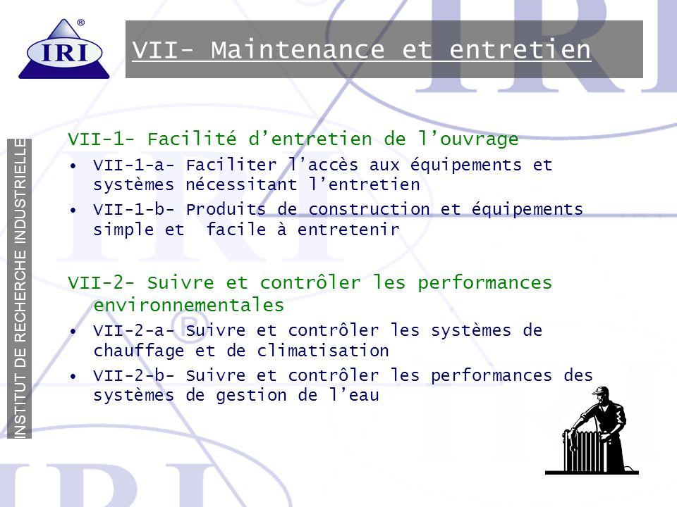VII- Maintenance et entretien