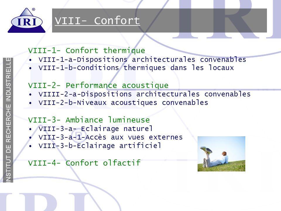 VIII- Confort VIII-1- Confort thermique VIII-2- Performance acoustique
