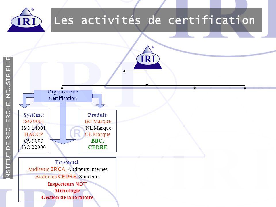 Les activités de certification