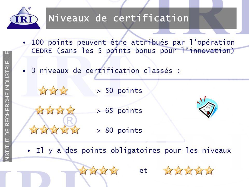 Niveaux de certification