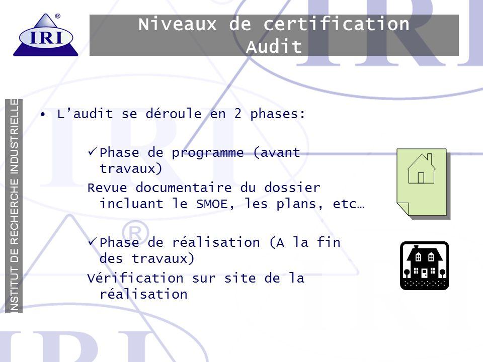 Niveaux de certification Audit