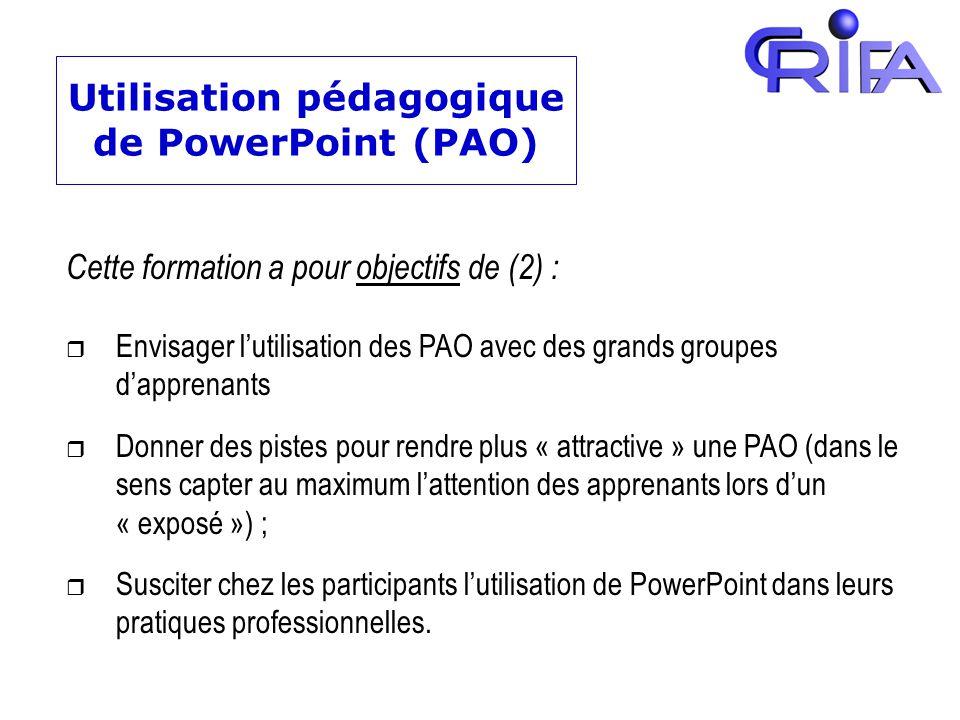 Utilisation pédagogique de PowerPoint (PAO)