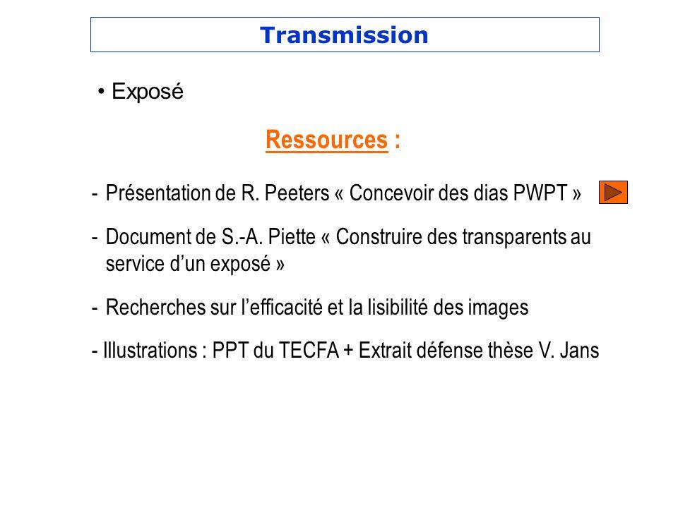 Ressources : Transmission Exposé