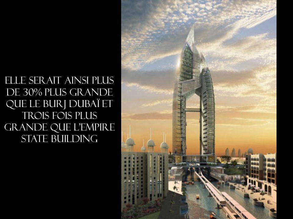 elle serait ainsi plus de 30% plus grande que le Burj Dubaï et trois fois plus grande que l Empire State Building