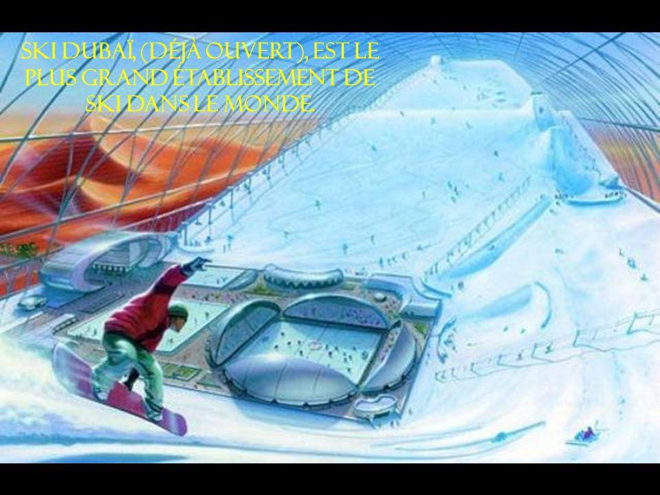 Ski Dubaï, (déjà ouvert), est le plus grand établissement de ski dans le monde.