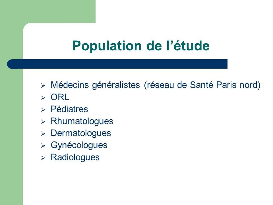 Population de l'étude Médecins généralistes (réseau de Santé Paris nord) ORL. Pédiatres. Rhumatologues.