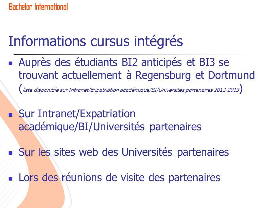 Informations cursus intégrés