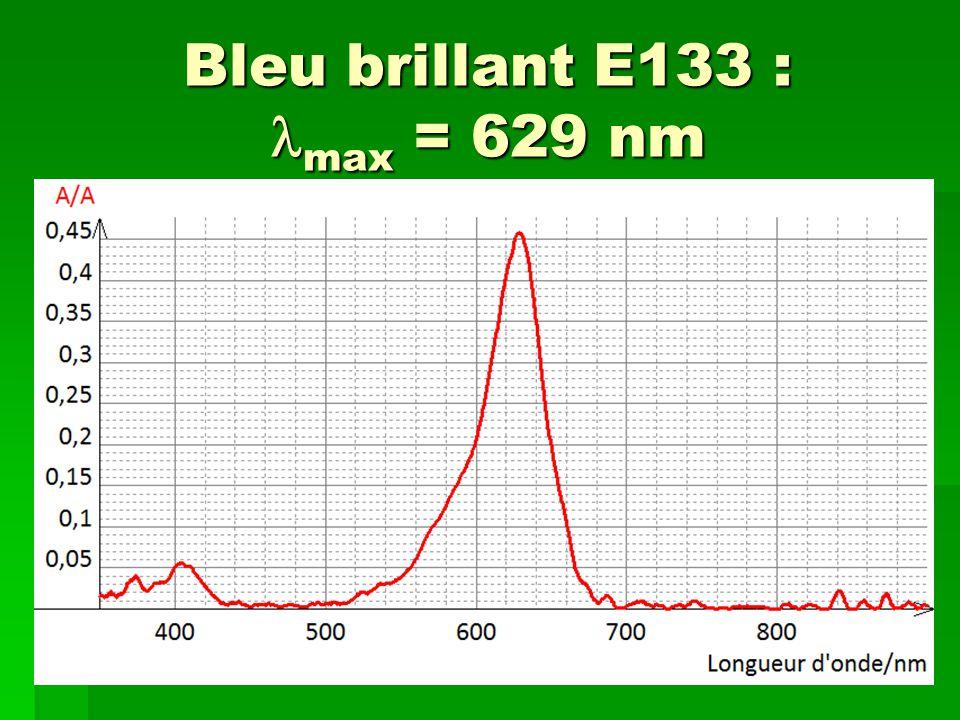 Bleu brillant E133 : max = 629 nm