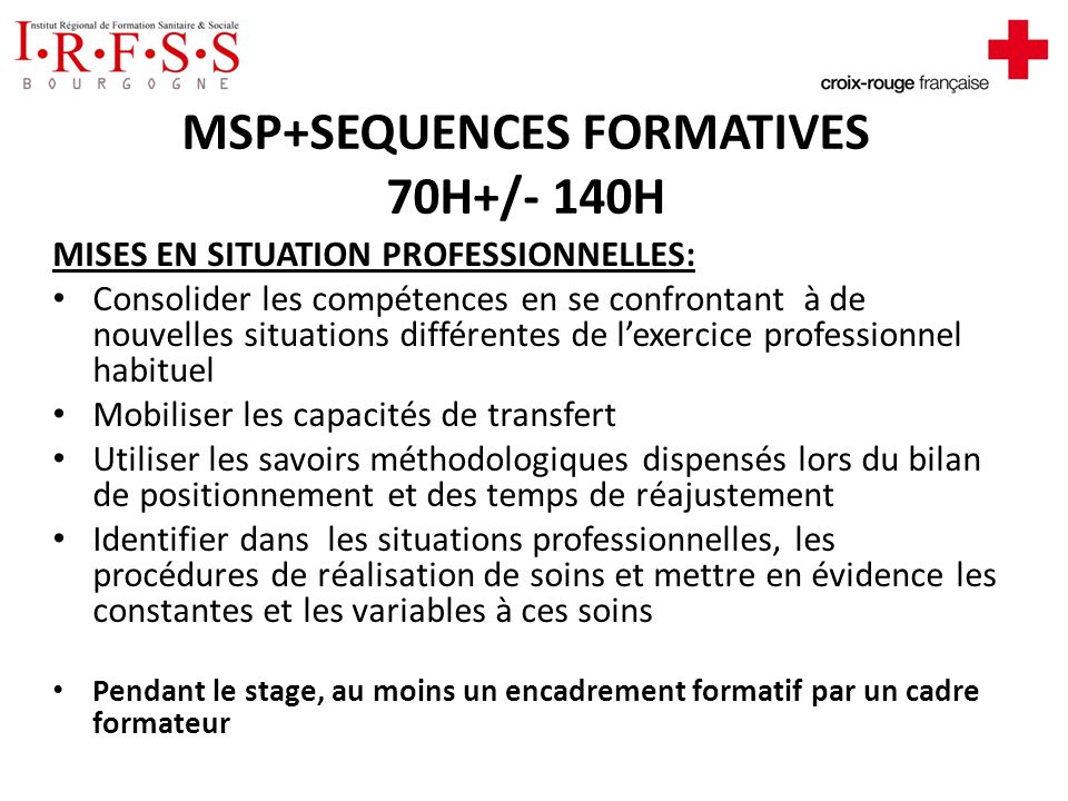 MSP+SEQUENCES FORMATIVES 70H+/- 140H