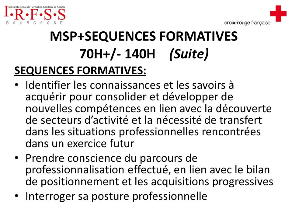 MSP+SEQUENCES FORMATIVES 70H+/- 140H (Suite)