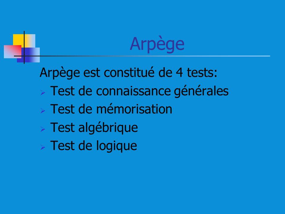Arpège Arpège est constitué de 4 tests: Test de connaissance générales