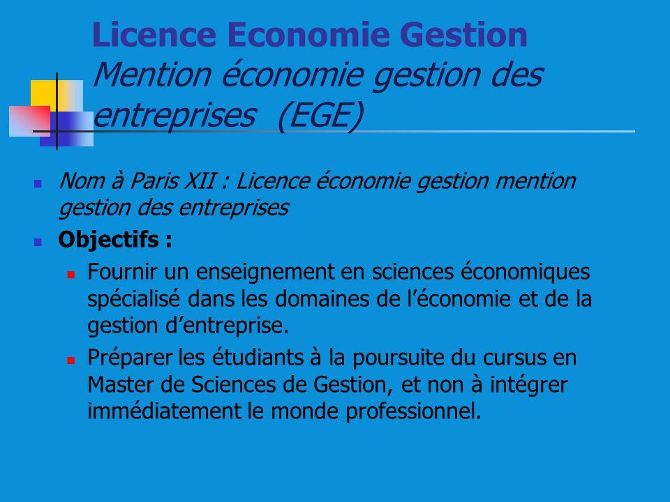 Licence Economie Gestion Mention économie gestion des entreprises (EGE)