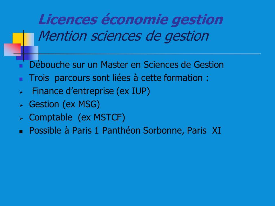 Licences économie gestion Mention sciences de gestion