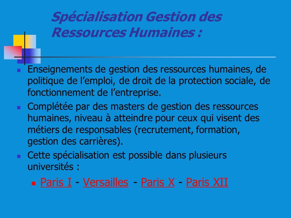 Spécialisation Gestion des Ressources Humaines :