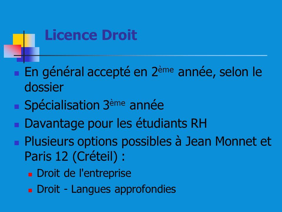 Licence Droit En général accepté en 2ème année, selon le dossier