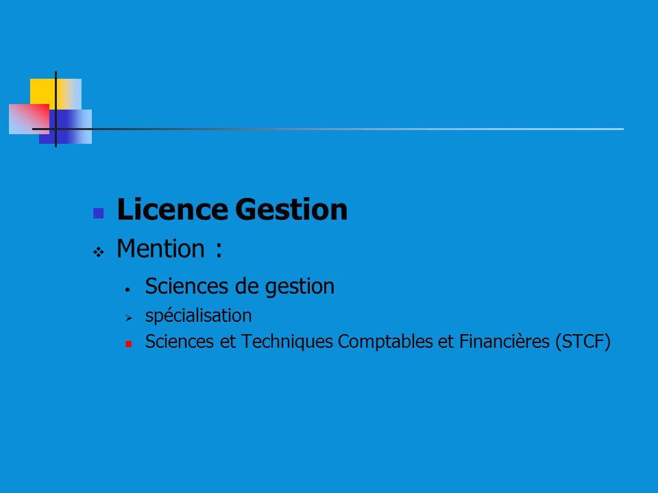 Licence Gestion Mention : Sciences de gestion spécialisation