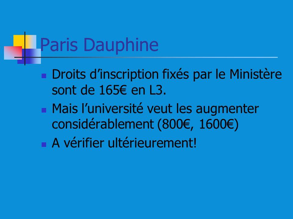 Paris Dauphine Droits d'inscription fixés par le Ministère sont de 165€ en L3. Mais l'université veut les augmenter considérablement (800€, 1600€)